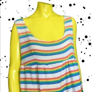 Vintage 80's Handmade Rainbow Striped Tank Dress